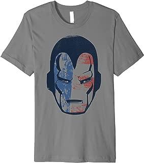 Marvel Iron Man American Flag Face Vintage Premium T-Shirt