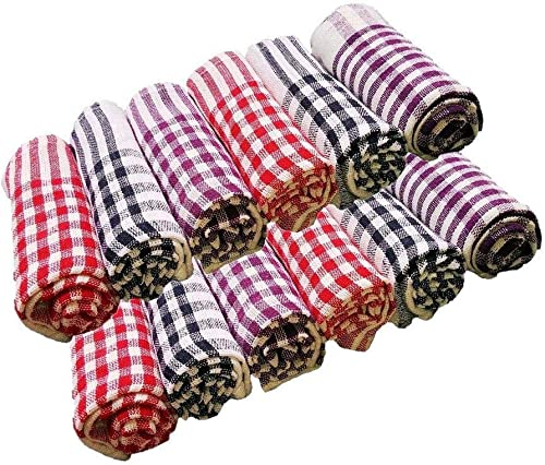 AKIN TOWEL AKIN Cotton Cleaning Cloth Kitchen Table Wipe Multipurpose Napkin 15X15 Inch Multicolour Pack of 12