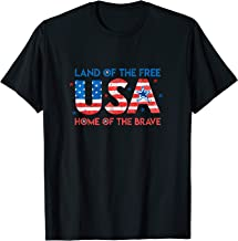 USA Home of the Free Land of the Brave - 4th Of July Flag T-Shirt