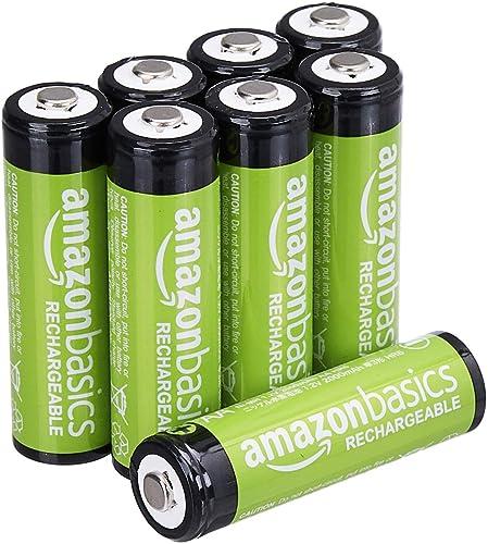 Amazon Basics Piles rechargeables AA, pré-chargées - Lot de 8 (le visuel peut différer)