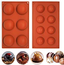 Semicircle Silicone Mold Set of 2 - Half Sphere Dome Bakeware Set for Cake Decoration, Half Circle Baking Tray for Teacake...