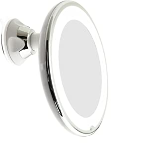 JiBen LED Lighted 10X Magnifying Makeup Mirror with Power Locking Suction Cup, Bright..