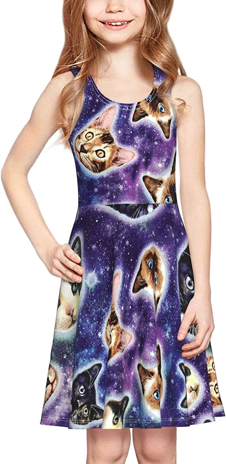 Cats Heads in Space Dress Girl's Fashion Printing Casual Skirt Tank Dress