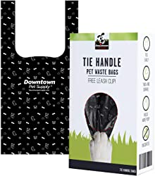 Dog Cat Tie Handle Pet Waste Bags, Doggie Poop Bags Dogs - Includes Bag Holder Black and Blue Color - 6.5  x 14.5