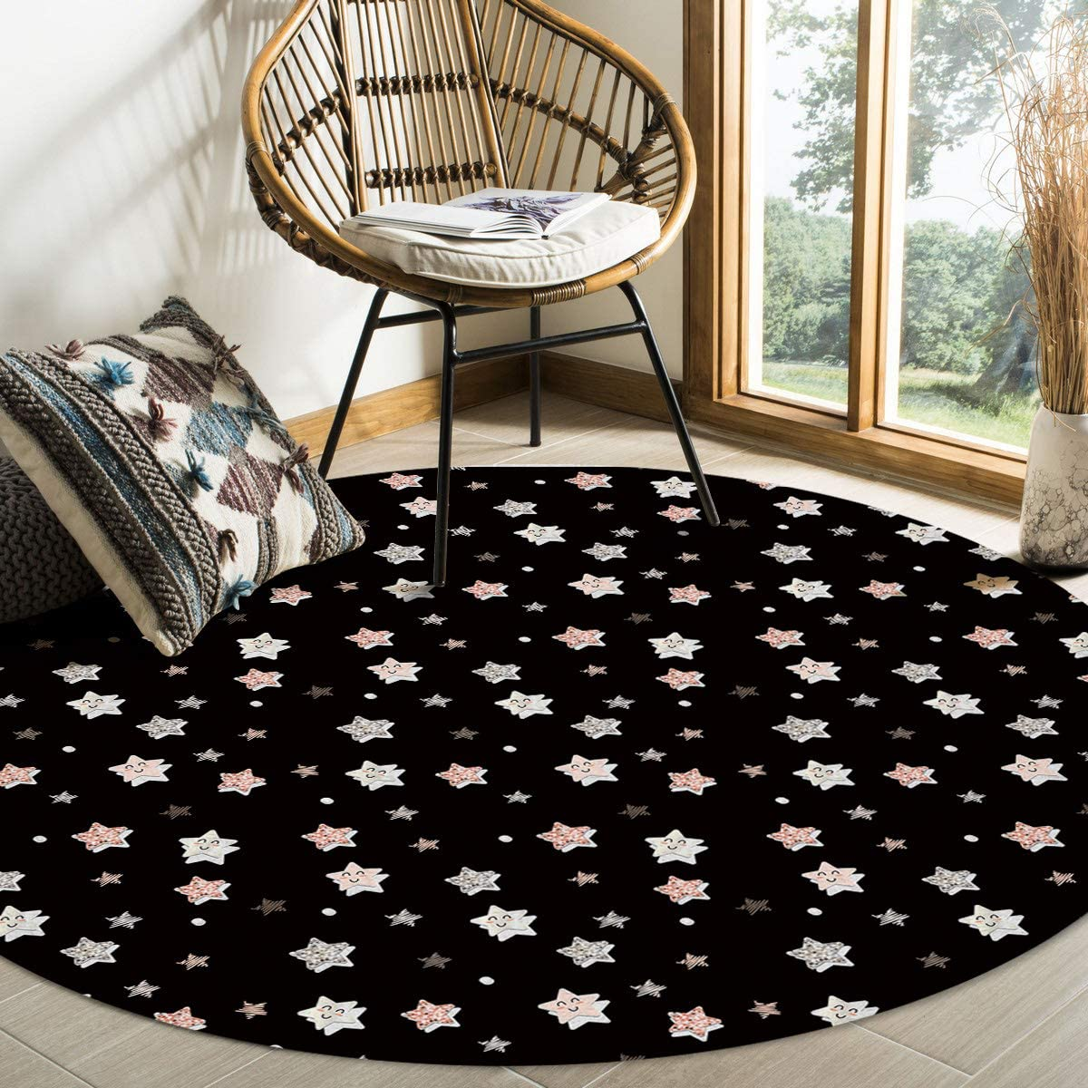 Minneapolis Mall Special price ALAGEO Round Area Rugs Cute Star Indoors Living Pattern Roo Soft