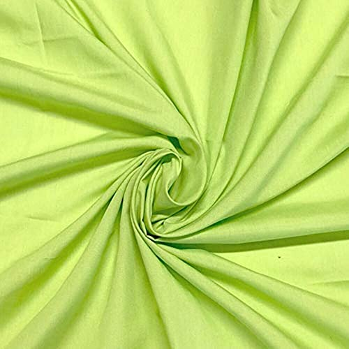 DJ FASHION Pure Cotton Poplin Fabric for Dress Garments in Lime Green Color Size 5 Meter