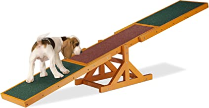Relaxdays Colourful Wooden Pet Seesaw for Big and Small Dogs, Equipment for Agility and Obedience Training, 54 x 180 x 30 ...