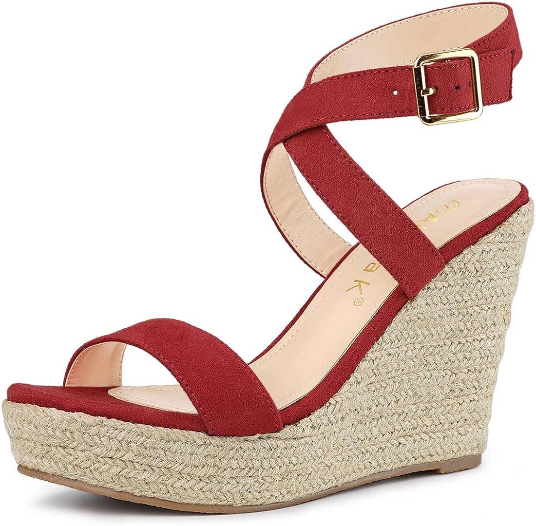 Allegra K Women's Slingback Crisscross Wedges Store Espadrille Heel Max 65% OFF Sa