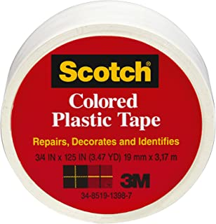 Scotch 190WT Colored Plastic Tape, 3/4 x 125-Inch, White (6-pack)