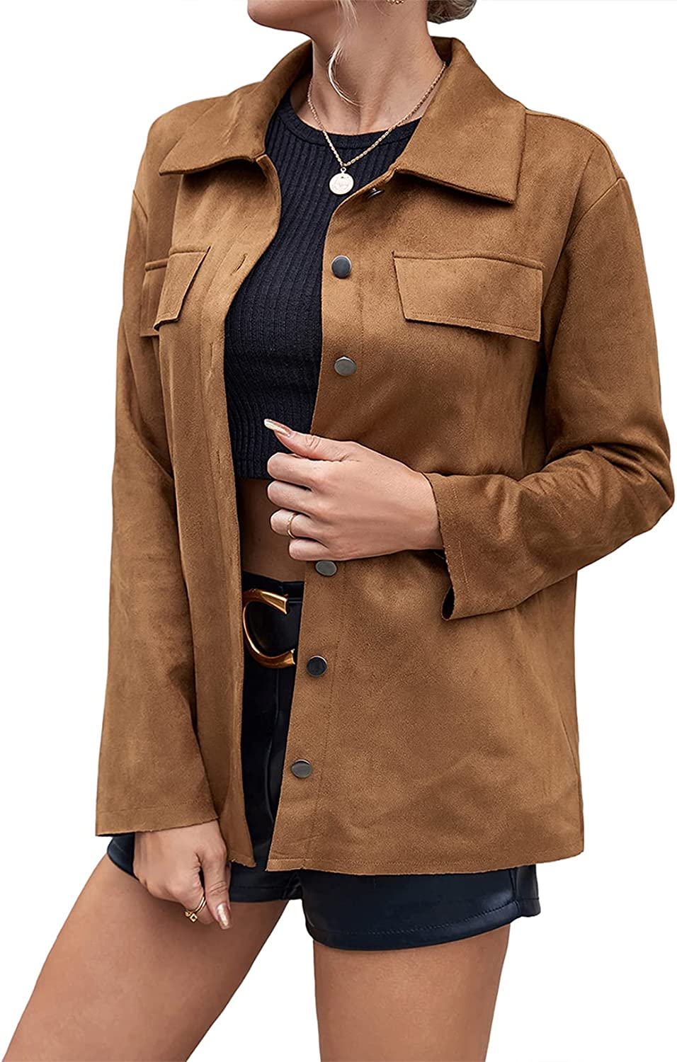 Women's Faux Suede Leather Jacket Simple Max 61% OFF Long Ranking TOP19 Lapel Button Down