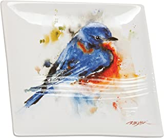 Demdaco Dean Crouser Bluebird Vibrant Watercolor Blue On White 7 x 7 Glossy Stoneware Snack Plate