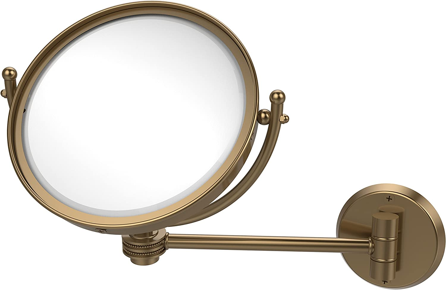 Allied Brass WM-5D 2X-BBR 8-Inch Wall Mounted Make-Up Mirror with 2x Magnification, Brushed Bronze