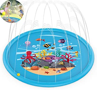 Upgraded Splash Pad, 170cm Kids Sprinkler Pad for 1 2 3 4 5 Year Old Toodler Children Boys Girls, Inflatable Shark Water T...