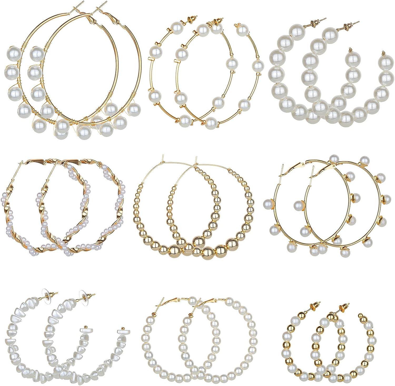 Hibijou 9 Pairs Faux Pearl Hoop Earrings for Women Lightweight Open Large Circle Dangle Drop Earrings Artificial Pearl Beaded Earrings