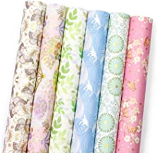 UNIQOOO 24Pcs Japanese Gift Wrapping Paper, 6 Designs, Thick Kimono Origami Washi Precut Sheets,Each 27½ x17 Inch, TTL.78 ft² Cover, Blush Gold Sliver Finish,for Christmas,Birthday,Baby Gifts Packing