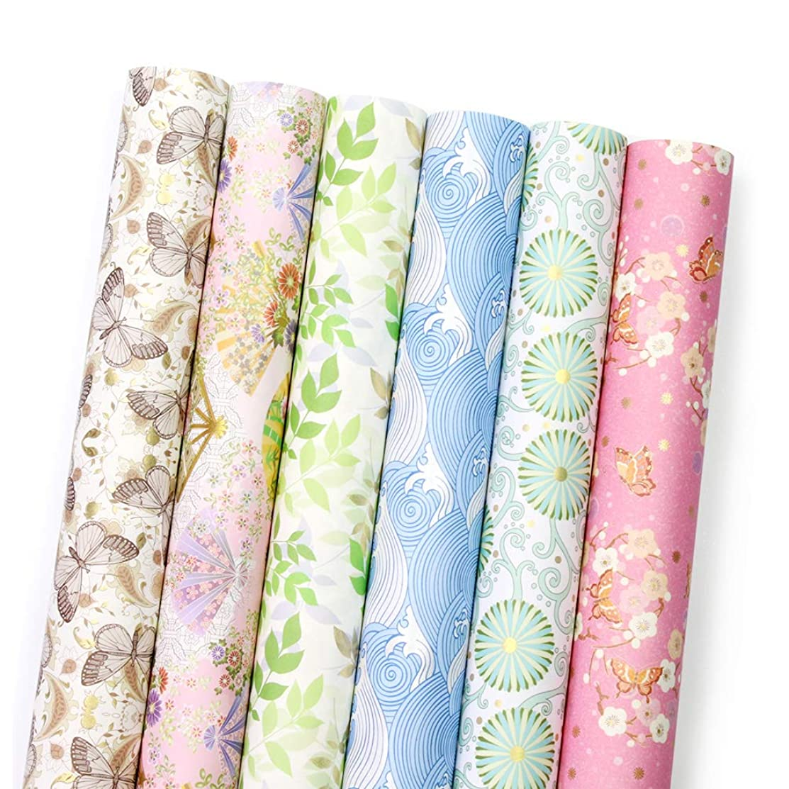 UNIQOOO Japanese Wrapping Paper 24 Sheets Precut 6 Assorted Designs,Packed 3 Rolls,Kimono Washi Thick Paper,Size 27? x 17