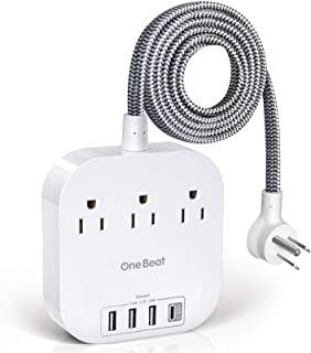Power Strip with USB C, 3 Outlets 4 USB Ports (22.5W/4.5A) Desktop Charging Station, Flat Plug, 5ft Braided Extension Cord, Non Surge Protector for Travel, Cruise Ship, Home & Office, ETL Listed