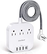Power Strip with USB C, 3 Outlets 4 USB Ports (22.5W/4.5A) Desktop Charging Station, Flat Plug, 5ft Braided Extension Cord...