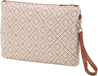 Diamond Print Everly Wristlet Pouch with Detachable Strap