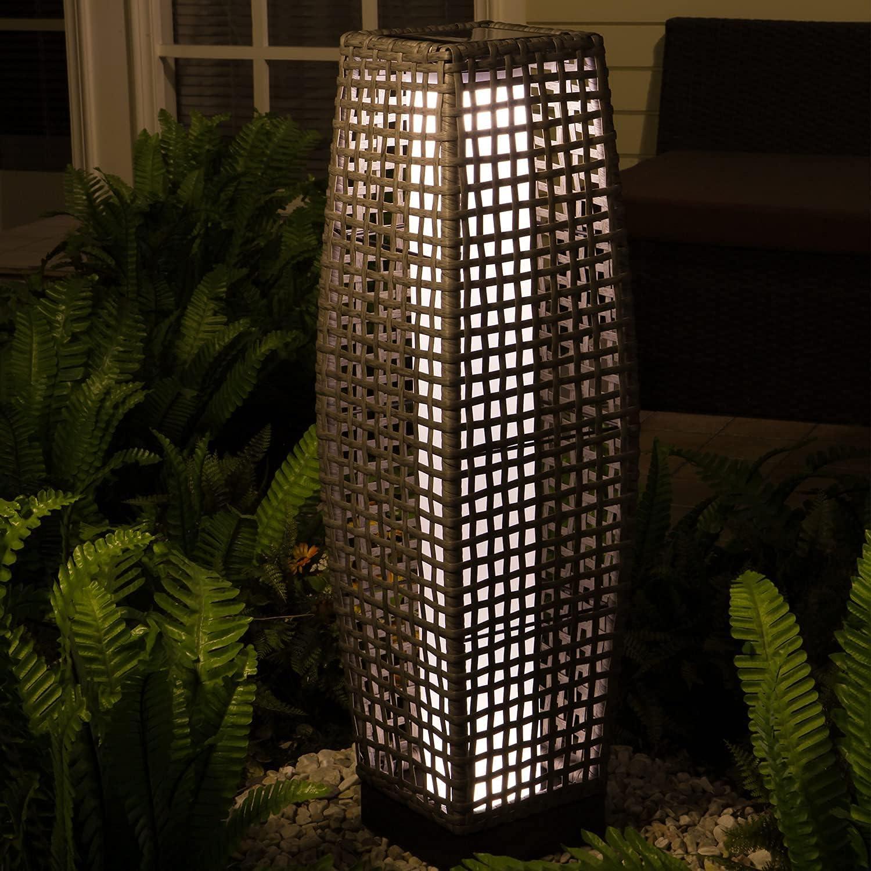 Grand Patio Outdoor Floor Lamp, Large-Sized Solar Powered Rattan Light, Weather–Resistant Rattan Floor Lamp for Patio, Deck and Garden