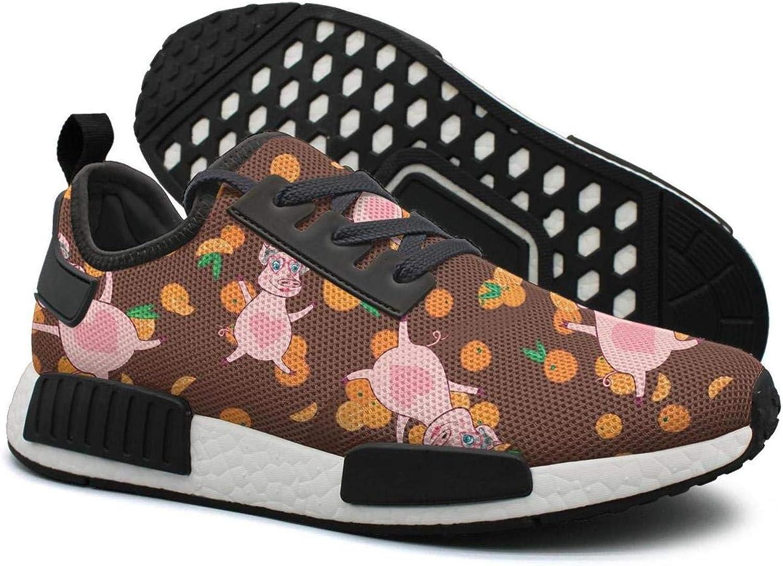 Pduiqo Happy Pig in Bright oranges Women's Hip hop Lightweight Sneaker Gym Outdoor Running shoes
