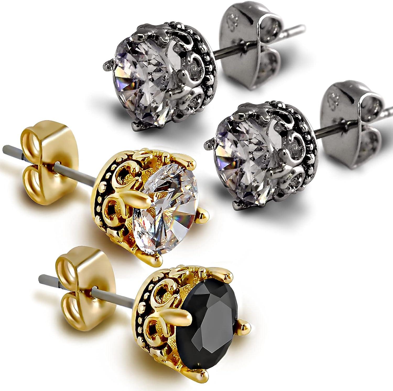 2 Pcs Gold and Sliver Stud Earrings for Men Women CZ Stud Earrings Set