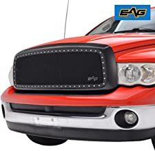 EAG Rivet Studded Frame Black Stainless Steel Wire Mesh Packaged Grille Fit for 02-05 Dodge Ram 1500/03-05 Dodge Ram 2500/3500