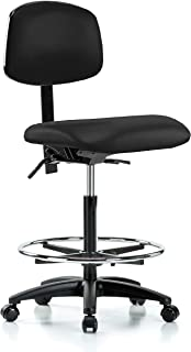 Perch Rolling Lab Chair with Adjustable Back Support and Foot Ring for Hardwood or Tile Floors, Counter Height, Black Fabric