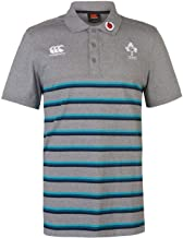 Official Brand Canterbury Ireland Rugby Stripe Polo Shirt Mens Grey Sports Fan Top