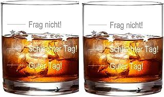 FORYOU24 2er Set Whiskeyglas mit guter Tag, schlechter Tag Gravur Geburtstag Geschenkidee Whisky-Glas graviert