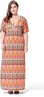 Printed Ice Silk Large Size V-Neck Dress Long Skirt, Casual Home Party Evening Dress (Color : Orange, Size : XXXXL)