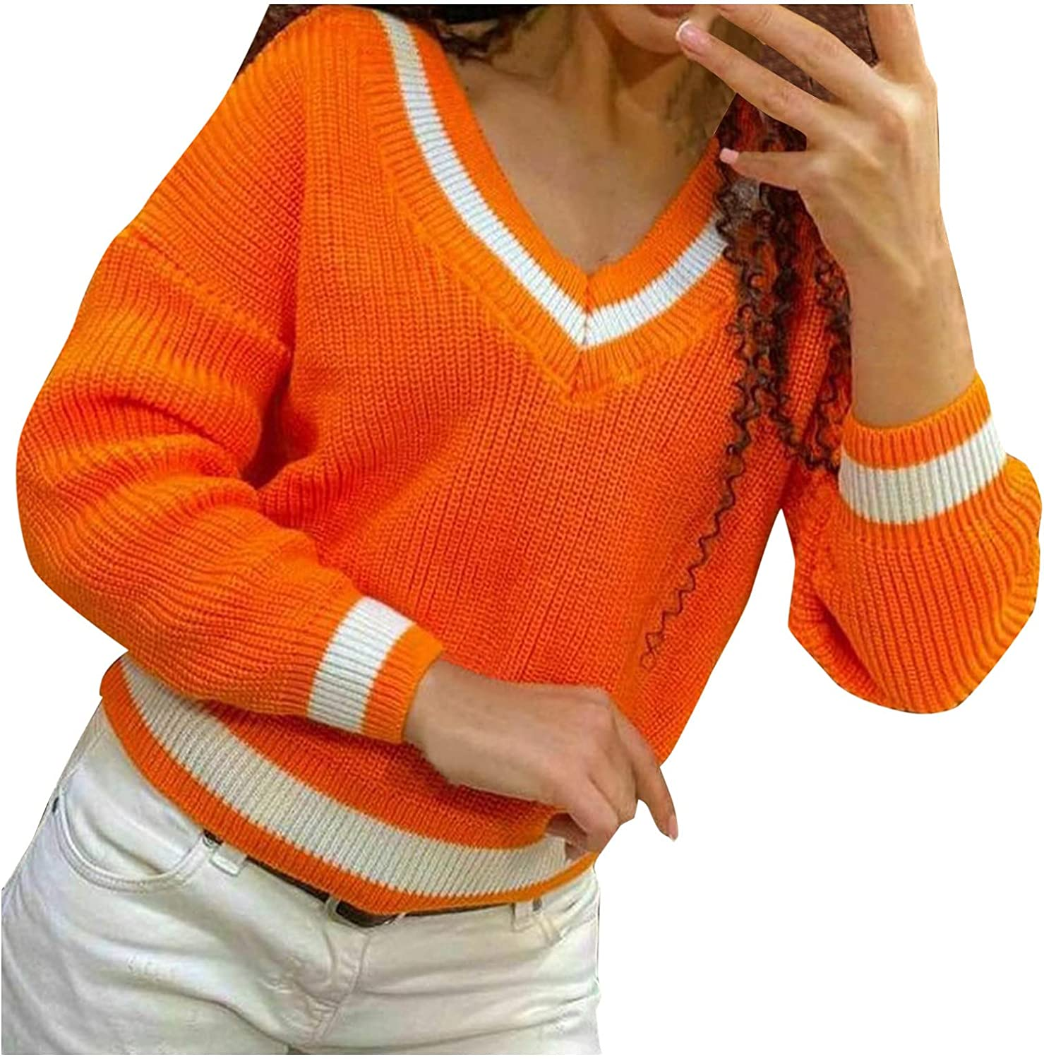 Women's Long Sleeve Oversized V Neck Short Sweater Casual Loose Color Block Patchwork Crochet Knitted Pullover Jumpers Top