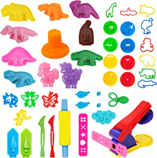 salipt Play Dough Tools for Kids, 41PCS Playdough Tools Kit Include Dough Dinosaur Unicorn Animal World Accessory Molds Ro...