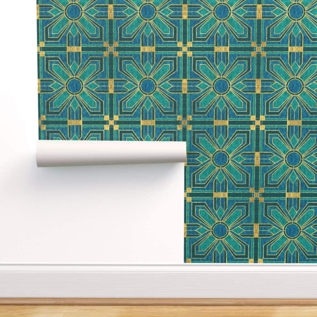 Spring new work one after Oklahoma City Mall another Removable Water-Activated Wallpaper - Floral Tiles Deco Art Blue