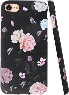A-Focus Case for New iPhone SE 2020 Case Flowers, iPhone 8 Case Rose, iPhone 7 Case Floral Frosted IMD Series Anti Scratch Flexible Slim TPU Case for iPhone SE / 8/7 4.7 inch Matte Flower Black