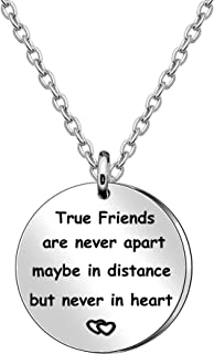 JQFEN Friends Gifts Necklace Sister Brother Jewelry Gifts True Friends are Never Apart Maybe in Distance But Never in Heart
