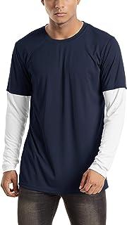 TACVASEN ラッシュガード メンズ ドライシャツ UVカット ロンT カジュアル ストレッチ UPF50+ シャツ ゆったり 切り替え 春 夏 秋