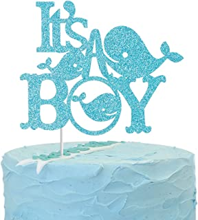 Whale It's a Boy Cake Topper, Nautical Ocean Gender Reveal Baby Shower Party Decorations,Ahoy Boy Hello Baby Cake Decor