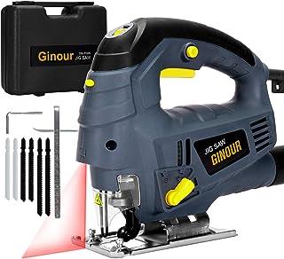 Scie Sauteuse Électrique, Ginour Scie Sauteuse 800W 3000SPM, 7 Vitesse Variable, 6 Lames, Angle ±45 °, Guide Laser, une So...