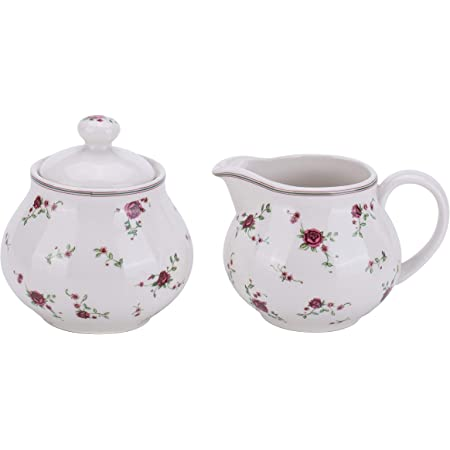 Amazon Com Lonovel Cream Sugar Sets With Lids Porcelain Vintage Floral Sugar Bowl And Creamer Set In Beige Ceramic Sugar And Creamer Sets For Home And Kitchen Dining Serving Rose Cream