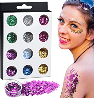 Teenitor12 Boxes Glitter for Eyes, Chunky Glitter, Flakes for Nails, Mixed Shapes Festival Glitter Cosmetic Face Body Hair Glitter Sequins Powder- 6 Colors $599$5.99