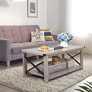 JAXSUNNY Rustic Coffee Table with Storage Shelf, Accent...
