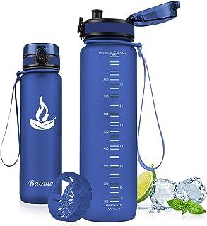 comprar comparacion Baomay Botella de Agua Deportiva 500ml 750ml 1000ml, Adultos/Niños Bottle con Filtro, Bidon de Bebidas Plástico Tritan, pa...