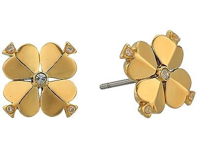 Kate Spade New York Legacy Logo Spade Flower Studs Earrings (Clear/Gold) Earring