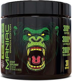 Maniac Green Edition Pre Workout Powder: Energy Booster , Beta-Alanine, 300mg Caffeine, Increased Workout Performance, Veg...