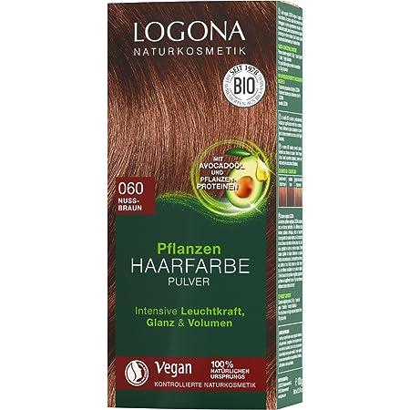 LOGONA Naturkosmetik - Tinte para el cabello en polvo 060 de color marrón nueces, vegano y natural, color marrón natural con henna, coloración 100 g
