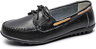 CELANDA Mocasines Cuero para Mujer Zapatos Planos Moda Loafers Casual Zapatos de Conducción Cómodos Zapatillas del Barco