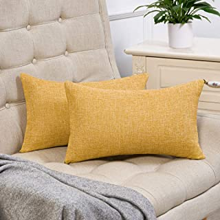 Anickal Set of 2 Mustard Yellow Lumbar Pillow Covers Cotton Linen Decorative Throw Pillow Covers 12x20 Inch for Sofa Couch Decoration
