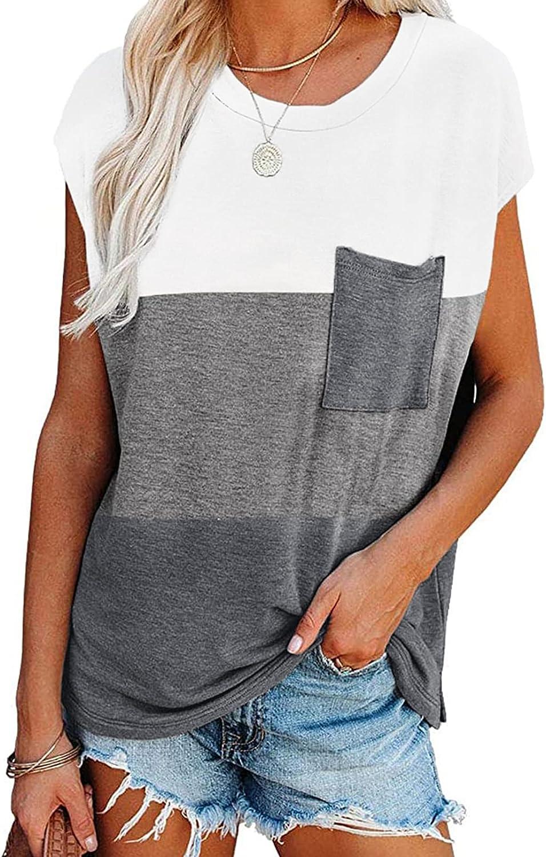 Biucly Womens Summer Tops Casual Loose Batwing Short Sleeve Tees Shirts with Pocket