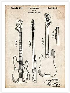 Fender 1951 Precision Bass Guitar 18x24 Patent Poster